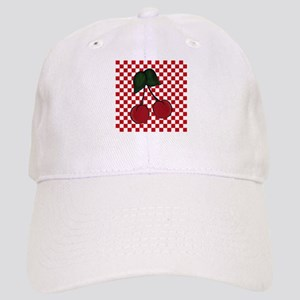 Red Cherries on Red and White Checks Baseball Cap