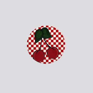 Red Cherries on Red and White Checks Mini Button