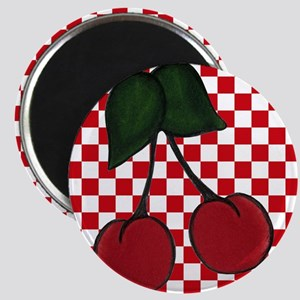 Red Cherries on Red and White Checks Magnets