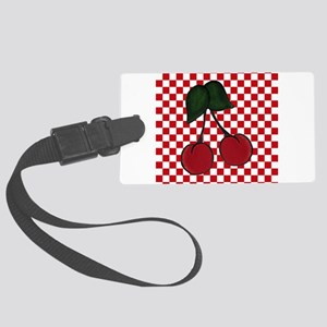 Red Cherries on Red and White Checks Luggage Tag