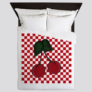 Red Cherries on Red and White Checks Queen Duvet
