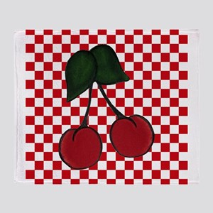 Red Cherries on Red and White Checks Throw Blanket
