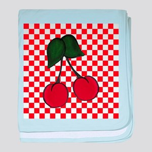 Red Cherries on Red and White Checks baby blanket