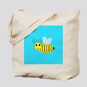 Honey Bee on Teal Polka Dots 2 Tote Bag