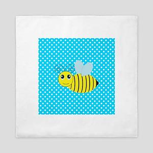 Honey Bee on Teal Polka Dots 2 Queen Duvet