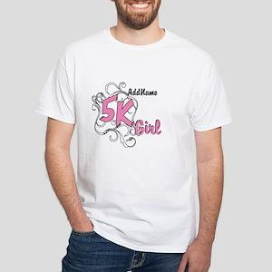5k Optional Text White T-Shirt