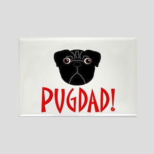 Black Pugdad Rectangle Magnet