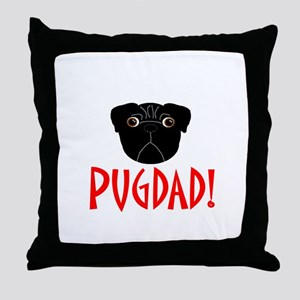 Black Pugdad Throw Pillow