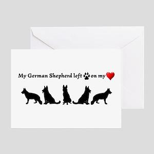 German Shepherd Left Footprints On Greeting Cards