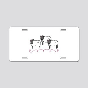 Ewes Sheep Animal Swirls Aluminum License Plate