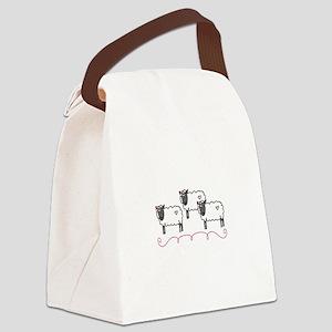 Ewes Sheep Animal Swirls Canvas Lunch Bag
