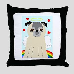 Fawn AngelPug Throw Pillow