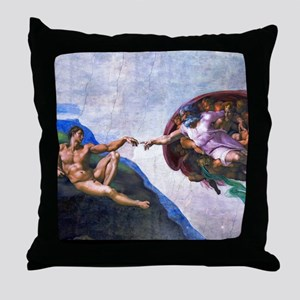 Michelangelo: Creation of Adam Throw Pillow