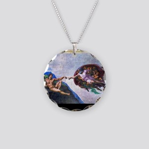 Michelangelo: Creation of Ad Necklace Circle Charm
