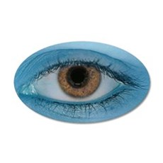 Brown Eye on Blue Wall Decal