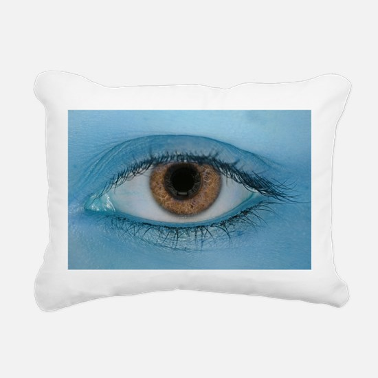 Brown Eye on Blue Rectangular Canvas Pillow