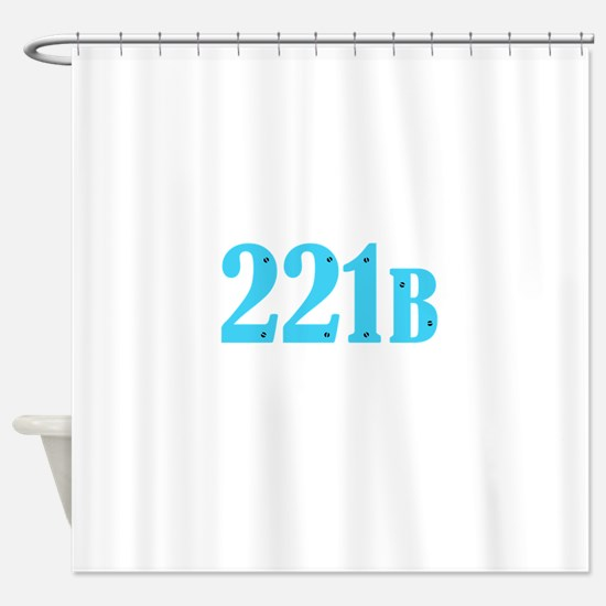 221 B Blue Shower Curtain