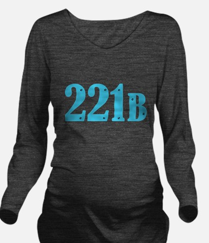 221 B Blue Long Sleeve Maternity T-Shirt