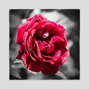 Red Rose on B/W Queen Duvet