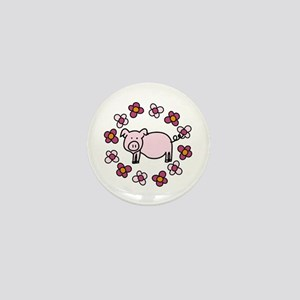 Flower Floral Miss Piggy Pig Animal Mini Button