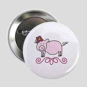 "Flower Floral Miss Piggy Pig Animal 2.25"" Button"