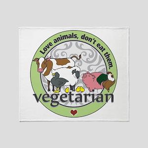 Love Animals Dont Eat Them Vegetaria Throw Blanket