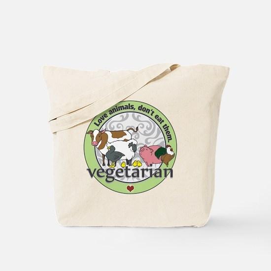 Love Animals Dont Eat Them Vegetarian Tote Bag