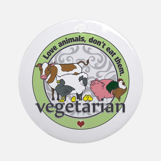 Love Animals Dont Eat Them Vegeta Ornament (Round)