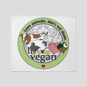 Love Animals Dont Eat Them Vegan Throw Blanket