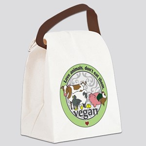 Love Animals Dont Eat Them Vegan Canvas Lunch Bag