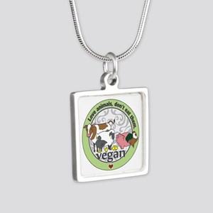 Love Animals Dont Eat Them Silver Square Necklace