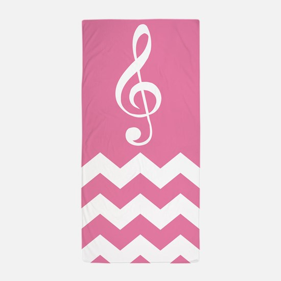 Cute Music Gift Chevron Treble Beach Towel