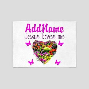 JESUS LOVES ME 5'x7'Area Rug
