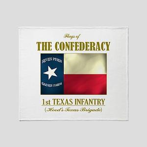 1st Texas Inf (Flag 3) Throw Blanket