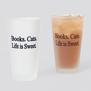 Books. Cats. Life is Sweet. Drinking Glass