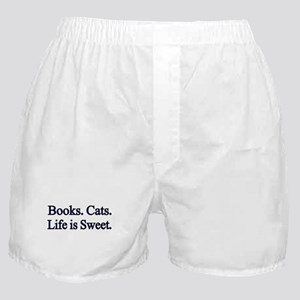 Books. Cats. Life is Sweet. Boxer Shorts