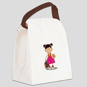 School Girl Student Bag Books Canvas Lunch Bag