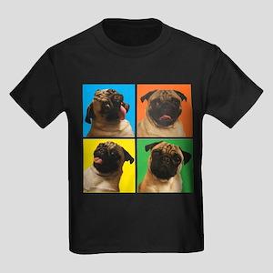 PUG SQUARES Kids Dark T-Shirt
