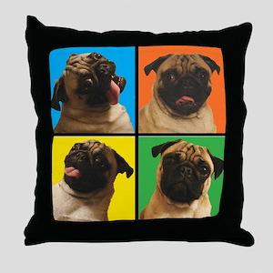 PUG SQUARES Throw Pillow