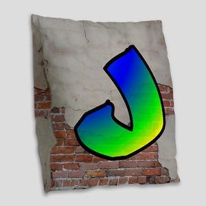 GRAFFITI #1 J Burlap Throw Pillow