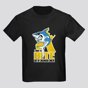Bite Out Of Childhood Cancer Kids Dark T-Shirt