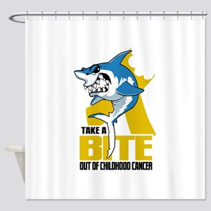 Bite Out Of Childhood Cancer Shower Curtain