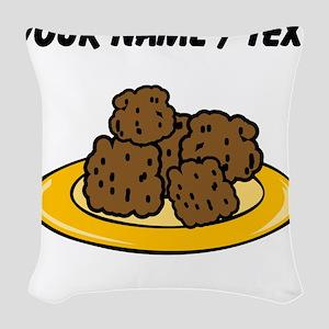 Custom Plate Of Meatballs Woven Throw Pillow