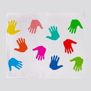 Hand Prints Throw Blanket
