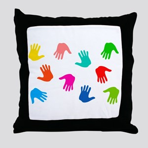 Hand Prints Throw Pillow