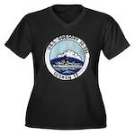 USS GREGORY Women's Plus Size V-Neck Dark T-Shirt