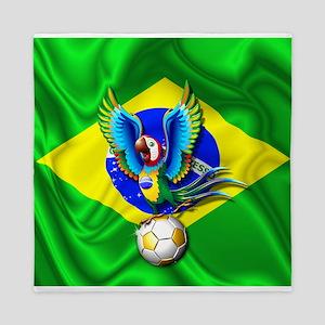 Brazil Macaw with Soccer Ball Queen Duvet