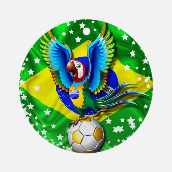 Brazil Macaw with Soccer Ball Ornament (Round)