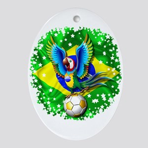 Brazil Macaw with Soccer Ball Ornament (Oval)