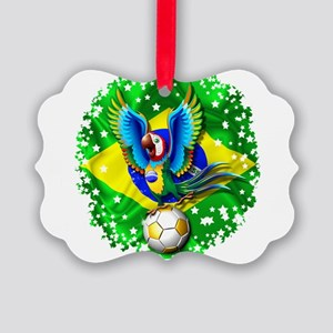 Brazil Macaw with Soccer Ball Ornament